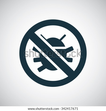 bug forbidden icon  on white