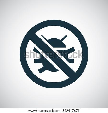 bug forbidden icon  on white