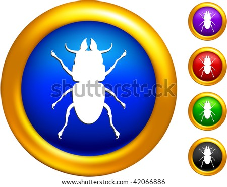 bug icon on buttons with golden borders