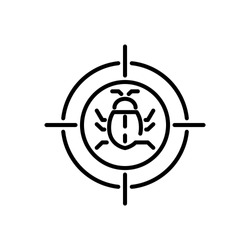 Bug in target vector icon, Malware bug in target symbol, Network Vulnerability - Virus, Malware, Ransomware, Fraud, Spam, Phishing, Email Scam, Hacker Attack - IT Security Concept Design, Vector illus