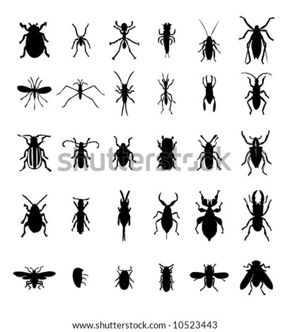 Bug insect silhouettes set