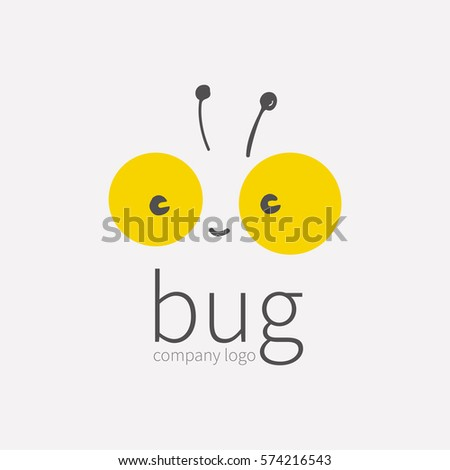 Bug logo, insect icon. Smiling cute little face beetle, Kawai, linear cartoon tipster. Symbol for company, for digital and print projects. vector illustration isolated on white background. Stock photo ©