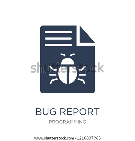 Bug report icon. Trendy flat vector Bug report icon on white background from Programming collection, vector illustration can be use for web and mobile, eps10