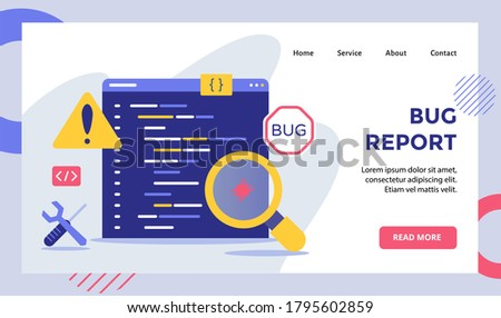 Bug report magnifier bug on data software campaign for web website home homepage landing page template banner with modern flat style