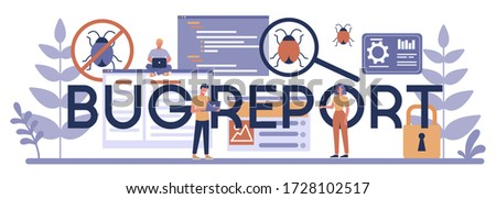 Bug report typographic header concept. Application or website code test process. IT specialist searching for bugs. Idea of computer technology. Digital analysis. Vector illustration in cartoon style