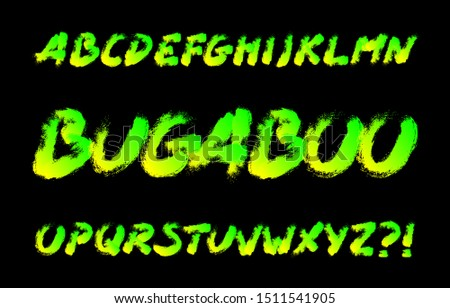 Bugaboo alphabet font. Brushstroke letters. Stock vector typography for your typography design.
