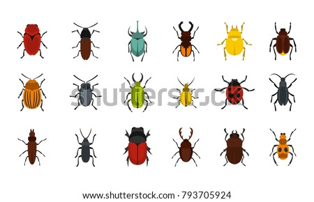 bugs icon set flat set of bugs