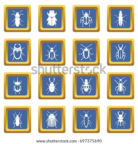 bugs icons set in blue color