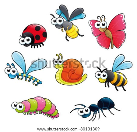 Bugs & 1 snail Funny cartoon and vector isolated characters.