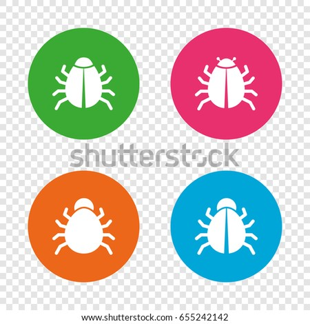 Bugs vaccination icons. Virus software error sign symbols. Round buttons on transparent background. Vector