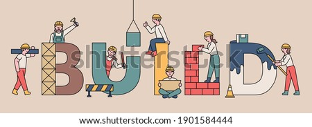 BUILD banner concept. Cute people are working on construction around the large letters. flat design style minimal vector illustration.