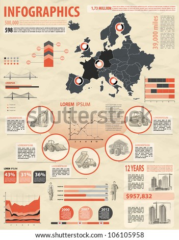 build info graphic vector with map of Europe. Easy to edit countries