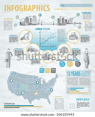 build info graphic vector with map of USA. Easy to edit states