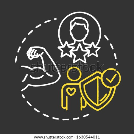 Build on strengths chalk RGB color concept icon. Healthcare. SWOT strategy. Premium membership for gym. Self-development idea. Vector isolated chalkboard illustration on black background