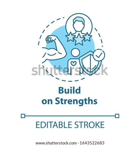 Build on strengths concept icon. Powerlifting and fitness. Premium membership for gym. Self-development idea thin line illustration. Vector isolated outline RGB color drawing. Editable stroke