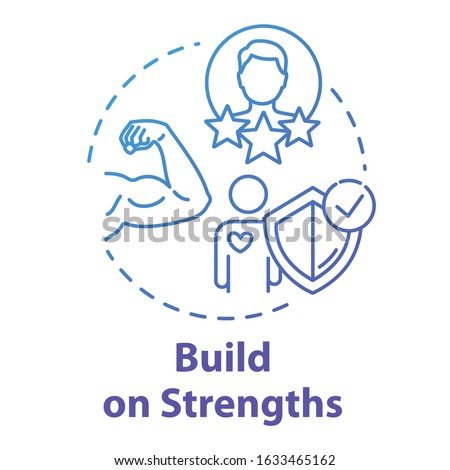 Build on strengths concept icon. Setting priority. SWOT strategy. Premium membership for gym. Self-development idea thin line illustration. Vector isolated outline RGB color drawing