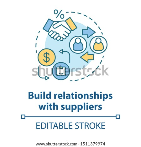 Build relationships with suppliers concept icon. Business agreement idea thin line illustration. Dropshipping management. Companies collaboration. Vector isolated outline drawing. Editable stroke
