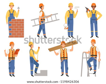 Builder cartoon character. Funny mascots of engineer or constructor in various action pose vector people. Builder man, worker occupation bricklayer and carpenter illustration