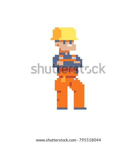 Builder character, worker. Pixel art. Isolated vector illustration.