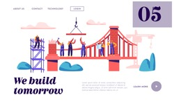 Builder Construct Brick Bridge with Construction Crane and Hammer Landing Page. Architect Worker Build Gate. Engineer on Ladder Building Object Website or Web Page. Flat Cartoon Vector Illustration
