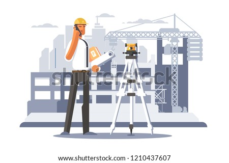 Builder engineer phone calling on construction. Foreman in helmet business communication concept . Flat. Vector illustration.