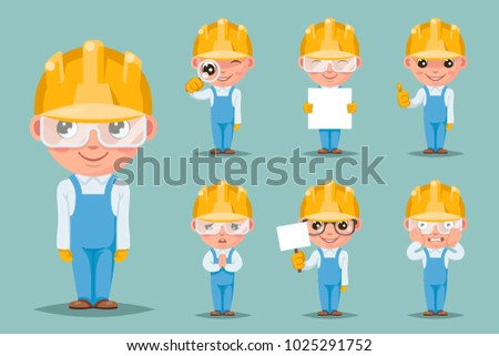Builder engineer technician mechanic cute mascot happy support approval characters cartoon set design vector illustration