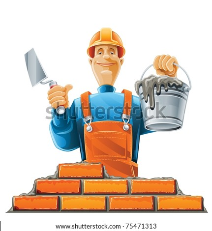 builder in helmet vector illustration isolated on white background