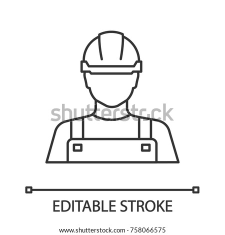 Builder linear icon. Construction worker. Thin line illustration. Contour symbol. Vector isolated outline drawing. Editable stroke