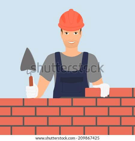 builder man is building a brick