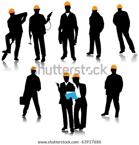 Builder people silhouette.Vector