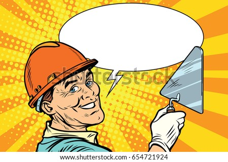 Builder repairman with the tool trowel. joyful professional smile. Pop art retro vector illustration