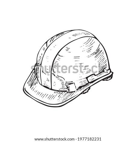 Builder's helmet,  gravure style ink drawing illustration isolated on white Photo stock ©