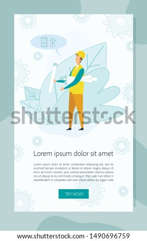 Builder Wearing Working Uniform and Protective Helmet Holding Heap of Blueprint Paper Rolls and Measuring in Speech Bubble on Background with Cogwheels Cartoon Flat Vector Illustration Vertical Banner