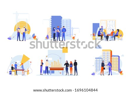 Builders and architects set concept. Collection men women builders, architects engineers working on architecture project. Profession, occupation, job. Planning, agreement. Building industry. Coworking