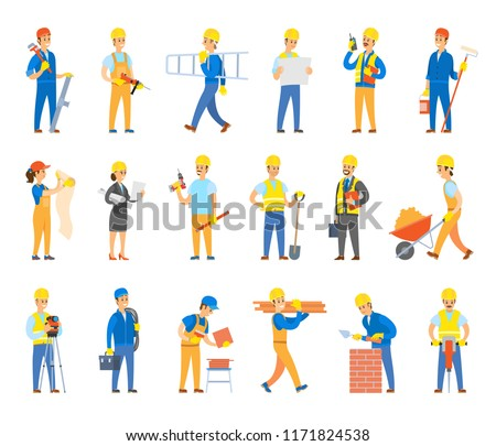 Builders and engineers with tools, bricks or tiles set. Workers in hardhats hold ladder, spade near wheelbarrow, toolkit, drill vector illustrations.