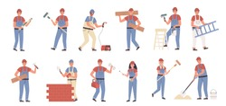Builders and repair masters flat vector illustrations set. Construction and repair work, constructing and renovation. People with building tools cartoon characters bundle isolated on white background.