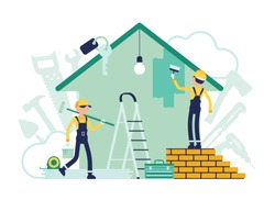 Builders doing repair of apartment, workers busy painting house wall. Men of professional services decorating cottage, restore home to good condition. Vector abstract illustration, faceless characters