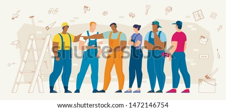 Builders Group, Construction Contractors Team, House Repair Service Workers Discussing Work Plan, Making Work Decision, Talking About Building or Apartment Drawings Details Flat Vector Illustration