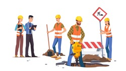 Builders men & women repairing road. Construction workers working, digging hole using shovel, jackhammer at road construction site. Supervisor person take notes. Flat vector character illustration
