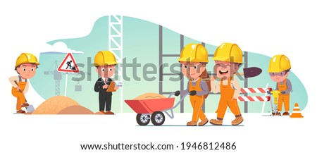 Builders people repairing road. Constructor kid use shovels, jackhammer, wheeling sand wheelbarrow at road construction site. Supervisor foreman worker making notes. Flat vector character illustration Photo stock ©