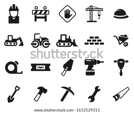 Builders Site Or Construction Site Icons Black & White Set Big