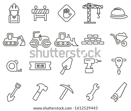 Builders Site Or Construction Site Icons Thin Line Set Big