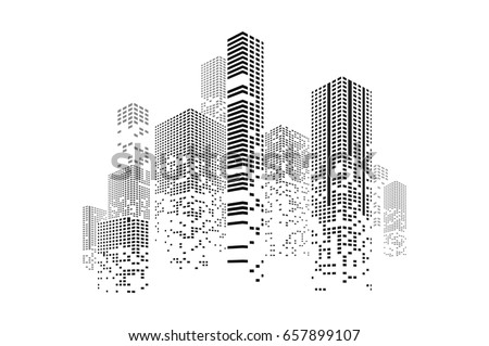 Building and city illustration. Illustration isolated on white background. Graphic concept for your design.