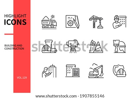 Building and construction - modern line design style icons set. Urban architecture and real estate development idea. Blueprint, crane, worker, cone, excavator, hard hat, vehicles and equipment images Foto stock ©