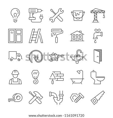 Building and home repair icons set. Line style