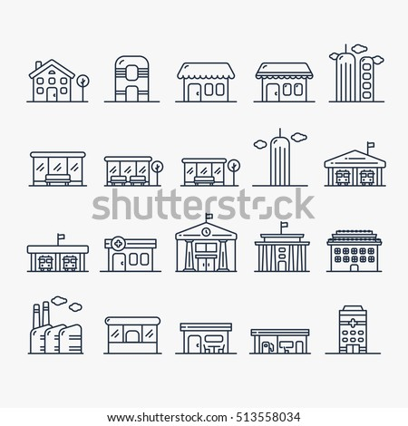 Building And House Minimalistic Line Icon Set