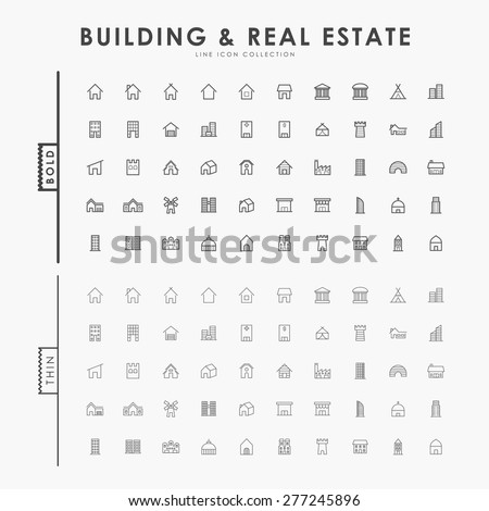 building and real estate on bold and thin line icons concept