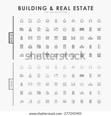 building and real estate on bold and thin outline icons concept