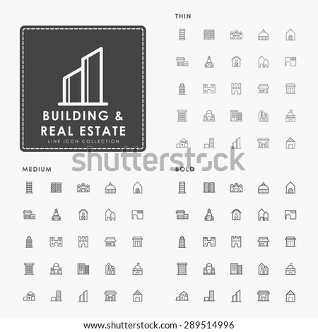 building and real estate on thin, medium and bold line icon concept