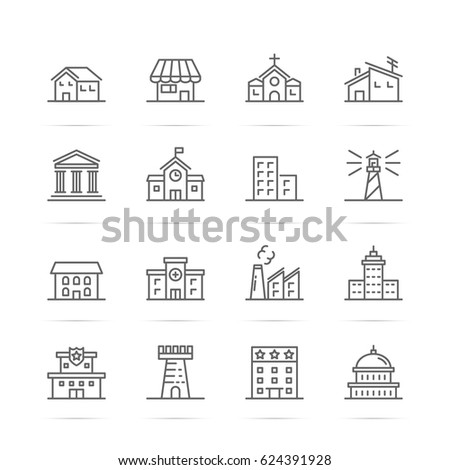 building and real estate vector line icons, minimal pictogram design, editable stroke for any resolution